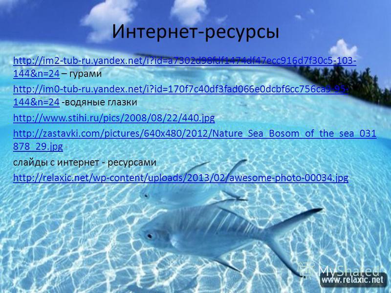 Интернет-ресурсы http://im2-tub-ru.yandex.net/i?id=a7302d98fdf1474df47ecc916d7f30c5-103- 144&n=24http://im2-tub-ru.yandex.net/i?id=a7302d98fdf1474df47ecc916d7f30c5-103- 144&n=24 – гурами http://im0-tub-ru.yandex.net/i?id=170f7c40df3fad066e0dcbf6cc756
