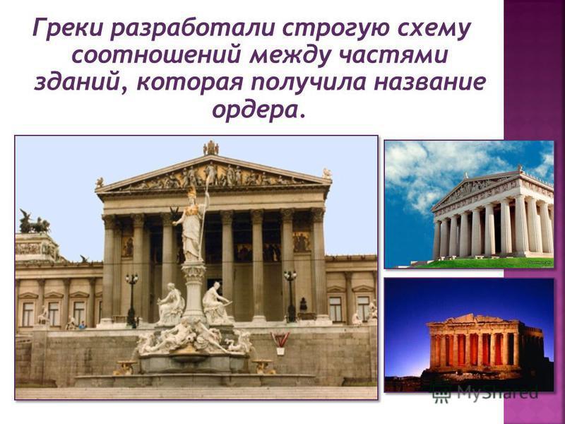 Греки разработали строгую схему соотношений между частями зданий, которая получила название ордера.