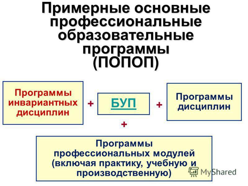 Примерные основные профессиональные образовательные программы (ПОПОП) БУП + Программы инвариантных дисциплин Программы дисциплин Программы профессиональных модулей (включая практику, учебную и производственную) + +