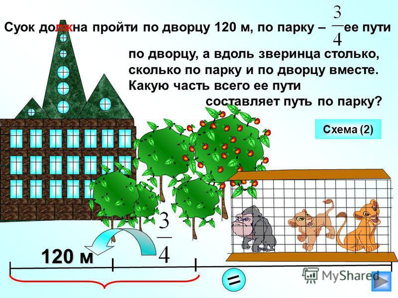 Суок должна пройти по дворцу 120 м, по парку – ее пути по дворцу, а вдоль зверинца столько, сколько по парку и по дворцу вместе. Какую часть всего ее пути составляет путь по парку? 120 м = Схема (2)