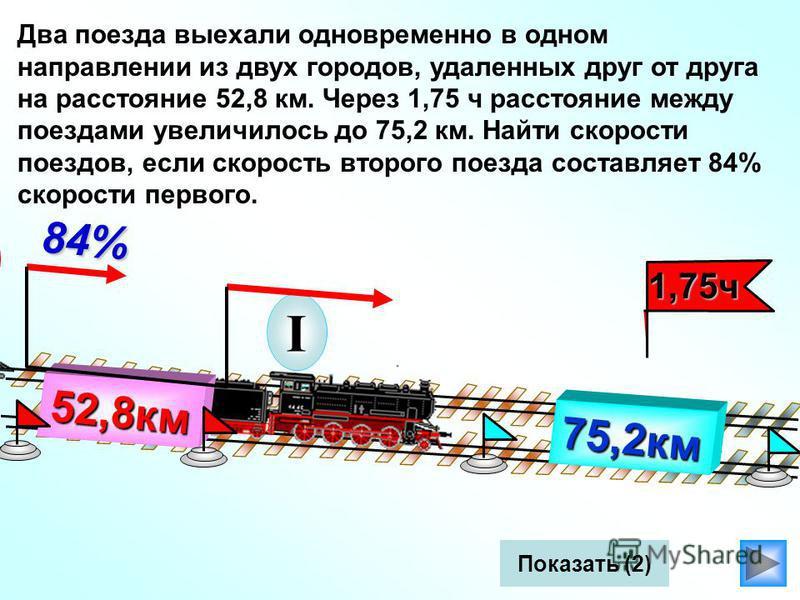 II I Два поезда выехали одновременно в одном направлении из двух городов, удаленных друг от друга на расстояние 52,8 км. Через 1,75 ч расстояние между поездами увеличилось до 75,2 км. Найти скорости поездов, если скорость второго поезда составляет 84