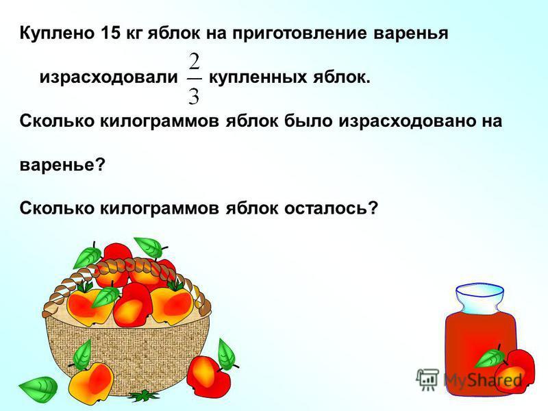 Куплено 15 кг яблок на приготовление варенья израсходовали купленных яблок. Сколько килограммов яблок было израсходовано на варенье? Сколько килограммов яблок осталось?