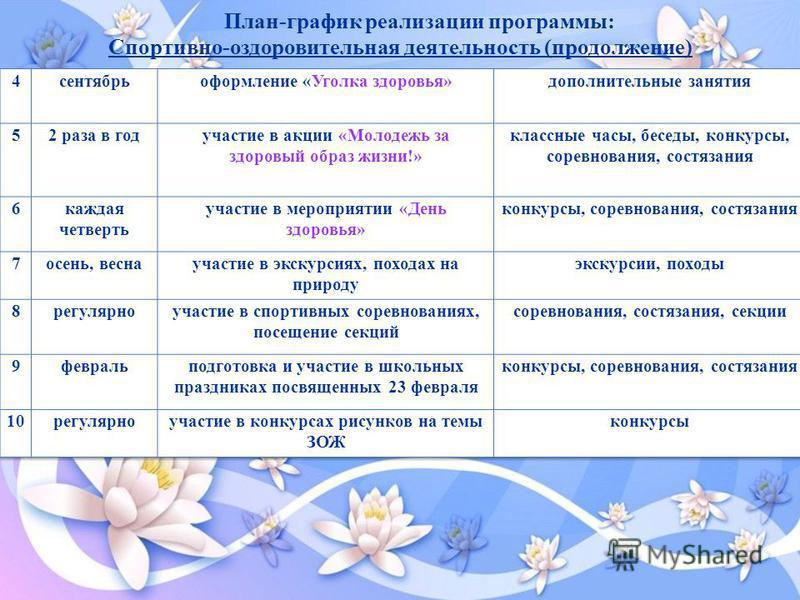 План-график реализации программы: Спортивно-оздоровительная деятельность (продолжение)