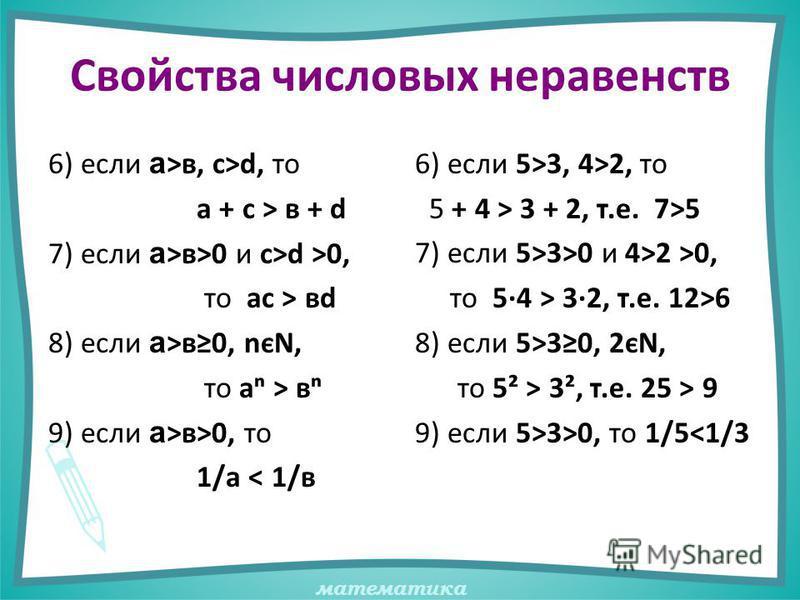 математика Свойства числовых неравенств 6) если а >в, с>d, то а + с > в + d 7) если а >в>0 и с>d >0, то ас > вd 8) если а >в 0, nєN, то а > в 9) если а >в>0, то 1/а < 1/в 6) если 5>3, 4>2, то 5 + 4 > 3 + 2, т.е. 7>5 7) если 5>3>0 и 4>2 >0, то 5·4 > 3