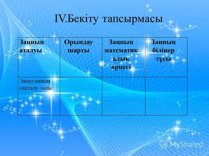 Заңның аталуы Орындау шарты Заңның математик алық өрнегі Заңның білінер тұсы Энергияның сақталу заңы IV.Бекіту тапсырмасы