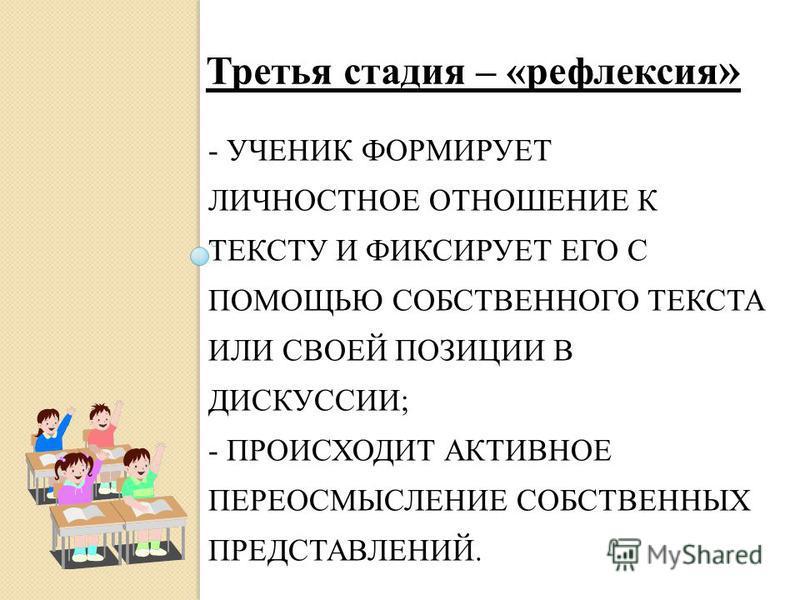 - УЧЕНИК ФОРМИРУЕТ ЛИЧНОСТНОЕ ОТНОШЕНИЕ К ТЕКСТУ И ФИКСИРУЕТ ЕГО С ПОМОЩЬЮ СОБСТВЕННОГО ТЕКСТА ИЛИ СВОЕЙ ПОЗИЦИИ В ДИСКУССИИ; - ПРОИСХОДИТ АКТИВНОЕ ПЕРЕОСМЫСЛЕНИЕ СОБСТВЕННЫХ ПРЕДСТАВЛЕНИЙ. Третья стадия – «рефлексия »