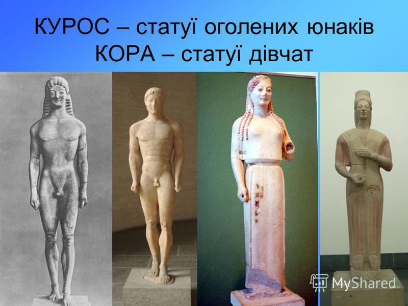 КУРОС – статуї оголених юнаків КОРА – статуї дівчат