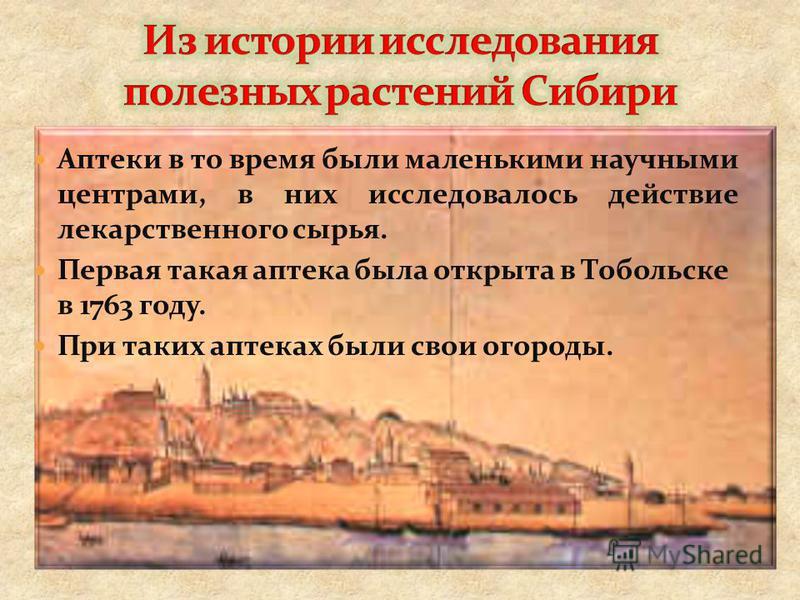 Аптеки в то время были маленькими научными центрами, в них исследовалось действие лекарственного сырья. Первая такая аптека была открыта в Тобольске в 1763 году. При таких аптеках были свои огороды.