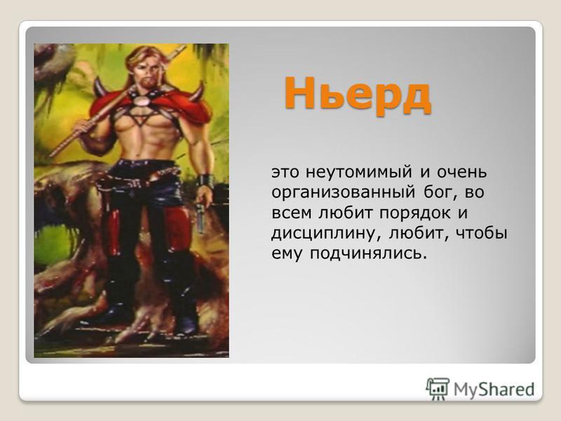 Ньерд это неутомимый и очень организованный бог, во всем любит порядок и дисциплину, любит, чтобы ему подчинялись.