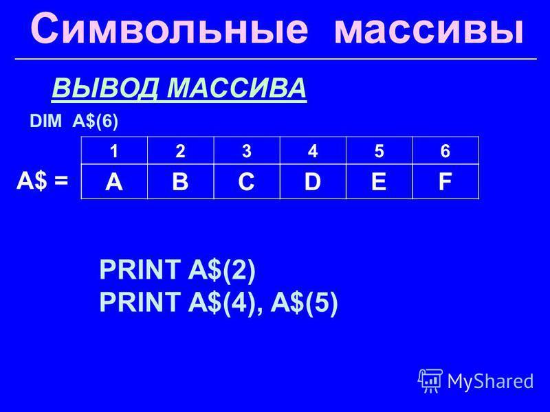 Символьные массивы ВЫВОД МАССИВА PRINT A$(2) PRINT A$(4), A$(5) A$ = 123456 ABCDEF DIM A$(6)