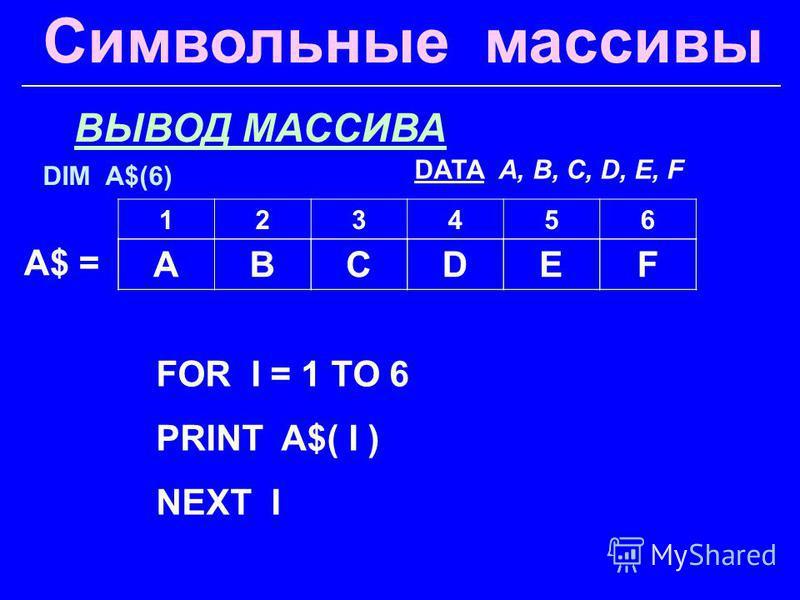 Символьные массивы ВЫВОД МАССИВА FOR I = 1 TO 6 PRINT A$( I ) NEXT I A$ = 123456 ABCDEF DIM A$(6) DATA A, B, C, D, E, F