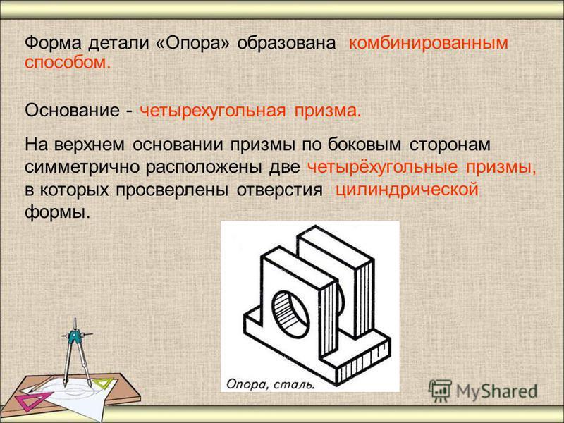 Форма детали «Опора» образована Основание - На верхнем основании призмы по боковым сторонам симметрично расположены две в которых просверлены отверстия формы. комбинированным четырехугольная призма. четырёхугольные призмы, цилиндрической способом.