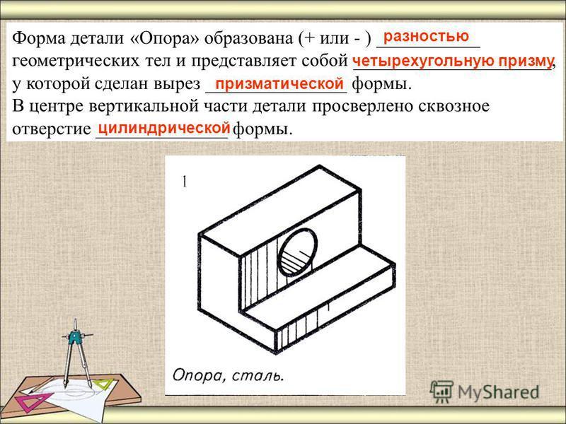 Форма детали «Опора» образована (+ или - ) ___________ геометрических тел и представляет собой _____________________, у которой сделан вырез _______________ формы. В центре вертикальной части детали просверлено сквозное отверстие ______________ формы