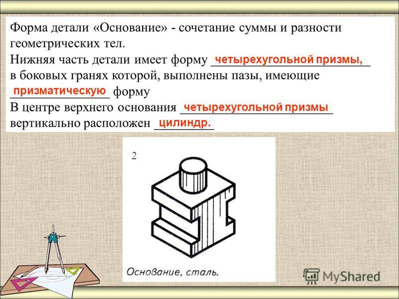 Форма детали «Основание» - сочетание суммы и разности геометрических тел. Нижняя часть детали имеет форму ________________________ в боковых гранях которой, выполнены пазы, имеющие _______________ форму В центре верхнего основания ___________________
