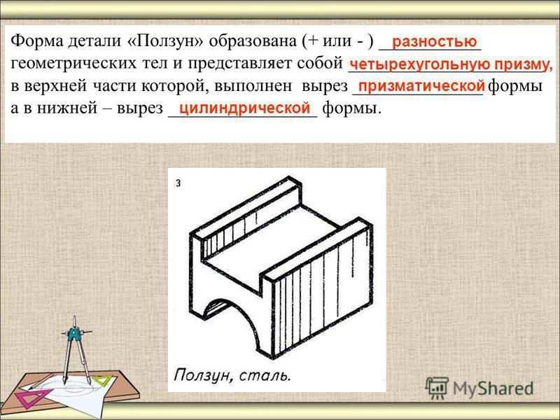 Форма детали «Ползун» образована (+ или - ) ___________ геометрических тел и представляет собой _____________________ в верхней части которой, выполнен вырез ______________ формы а в нижней – вырез ________________ формы. разностью четырехугольную пр