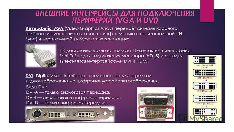 Интерфейс VGA (Video Graphics Array) передаёт сигналы красного, зелёного и синего цветов, а также информацию о горизонтальной (H- Sync) и вертикальной (V-Sync) синхронизациях. ВНЕШНИЕ ИНТЕРФЕЙСЫ ДЛЯ ПОДКЛЮЧЕНИЯ ПЕРИФЕРИИ (VGA И DVI) ПК достаточно дав