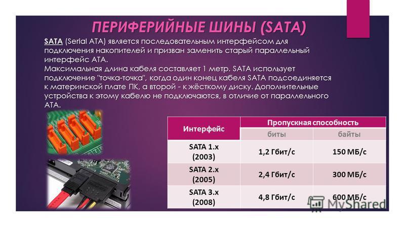 SATA (Serial ATA) является последовательным интерфейсом для подключения накопителей и призван заменить старый параллельный интерфейс ATA. Максимальная длина кабеля составляет 1 метр. SATA использует подключение