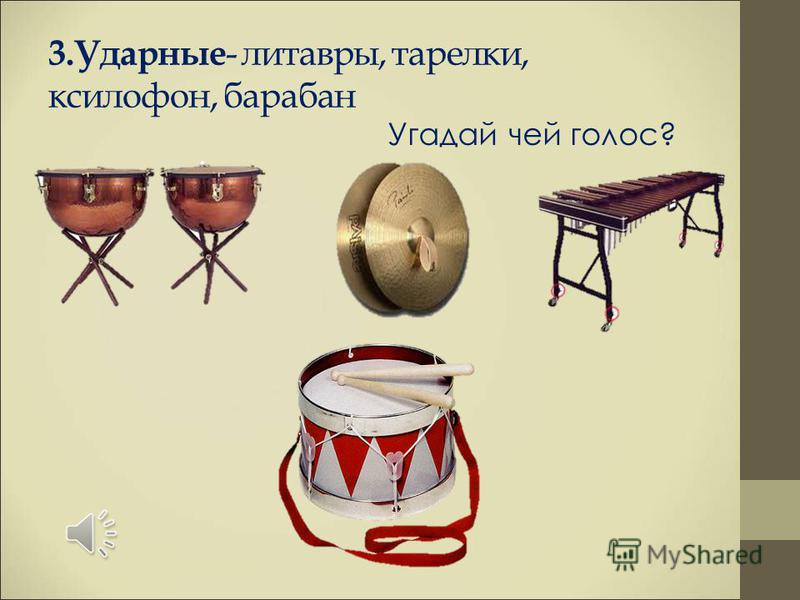 3. Ударные - литавры, тарелки, ксилофон, барабан Угадай чей голос?