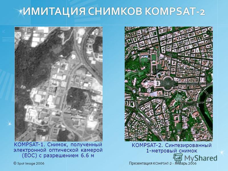 © Spot Image 2006 Презентация KOMPSAT-2 - январь 2006 ИМИТАЦИЯ СНИМКОВ KOMPSAT-2 KOMPSAT-2. Синтезированный 1-метровый снимок KOMPSAT-1. Снимок, полученный электронной оптической камерой (EOC) с разрешением 6.6 м