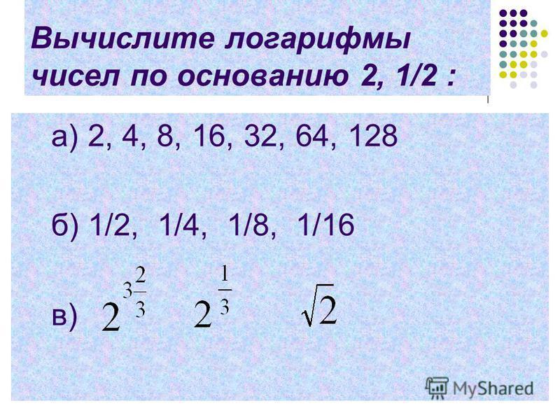 Вычислите логарифмы чисел по основанию 2, 1/2 : a) 2, 4, 8, 16, 32, 64, 128 б) 1/2, 1/4, 1/8, 1/16 в)