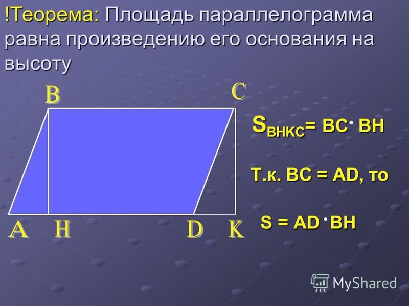!Теорема: Площадь параллелограмма равна произведению его основания на высоту S BHKC = BC BH S BHKC = BC BH Т.к. BC = AD, то Т.к. BC = AD, то S = AD BH S = AD BH