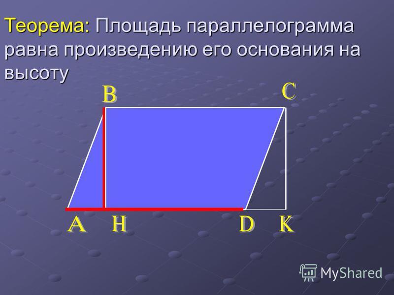 Теорема: Площадь параллелограмма равна произведению его основания на высоту