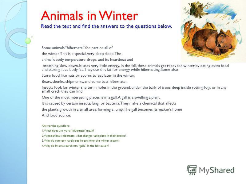 Animals in Winter Read the text and find the answers to the questions below. Some animals hibernate for part or all of the winter. This is a special, very deep sleep. The animals body temperature drops, and its heartbeat and breathing slow down. It u