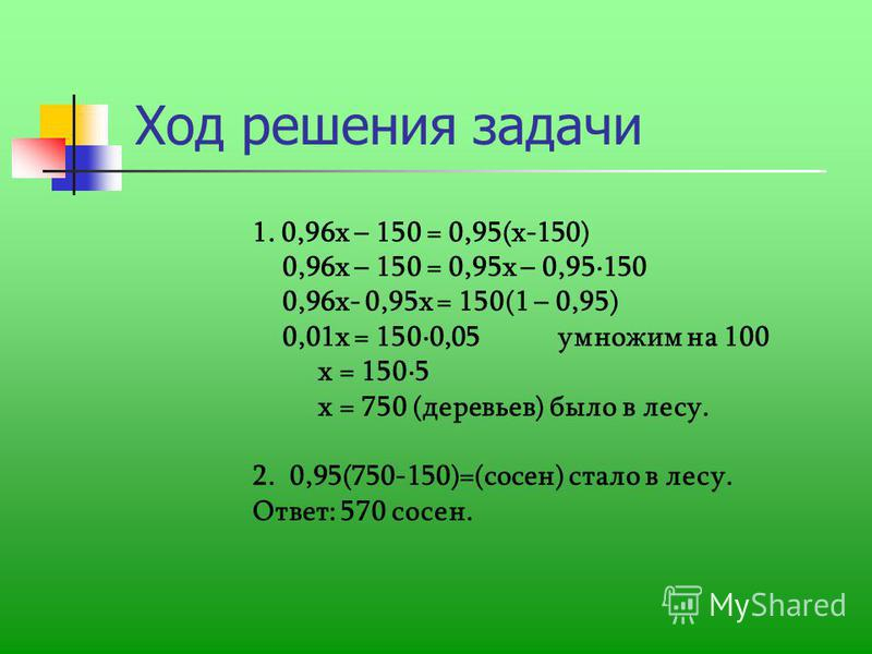 Ход решения задачи 1. 0,96 х – 150 = 0,95(х-150) 0,96 х – 150 = 0,95 х – 0,95150 0,96 х- 0,95 х = 150(1 – 0,95) 0,01 х = 1500,05 умножим на 100 х = 1505 х = 750 (деревьев) было в лесу. 2. 0,95(750-150)=(сосен) стало в лесу. Ответ: 570 сосен.