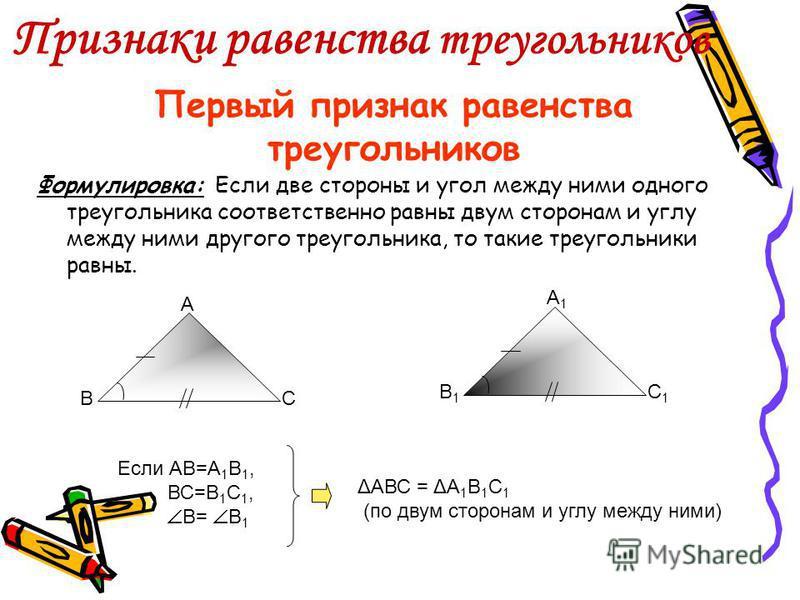Равные треугольники Треугольники называются равными, если они при наложении совпадают. А В С ΔАВС = ΔА 1 В 1 С 1, значит, 1. стороны равны: АВ = А 1 В 1 ; ВС = В 1 С 1 ; АС = А 1 С 1 2. углы равны: А = А 1, В = В 1, С = С 1 А1А1 В1В1 С1С1
