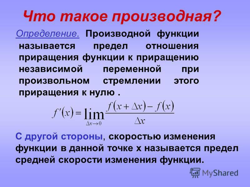Определение. Производной функции называется предел отношения приращения функции к приращению независимой переменной при произвольном стремлении этого приращения к нулю. С другой стороны, скоростью изменения функции в данной точке x называется предел