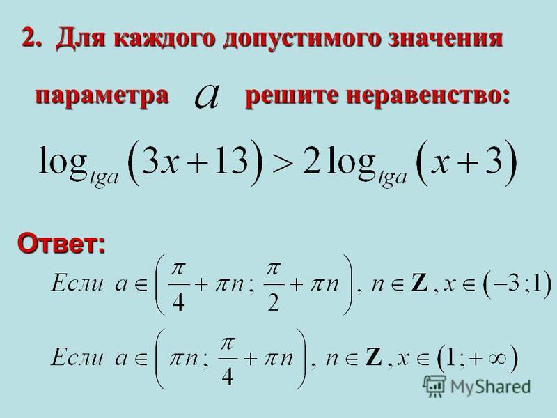 2. Для каждого допустимого значения решите неравенство: параметра Ответ: