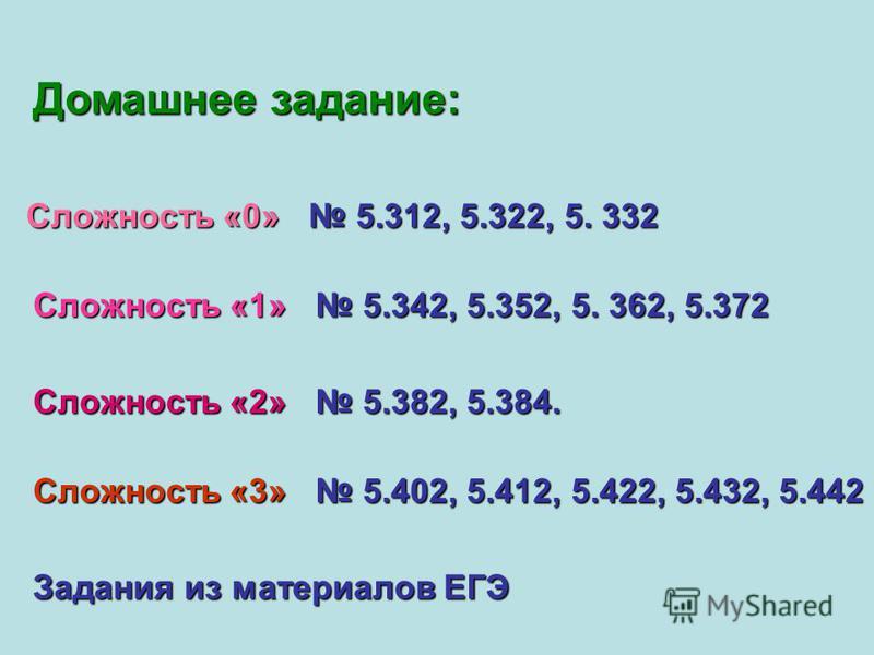 Домашнее задание: Сложность «0» 5.312, 5.322, 5. 332 Сложность «1» 5.342, 5.352, 5. 362, 5.372 Сложность «2» 5.382, 5.384. Сложность «3» 5.402, 5.412, 5.422, 5.432, 5.442 Задания из материалов ЕГЭ
