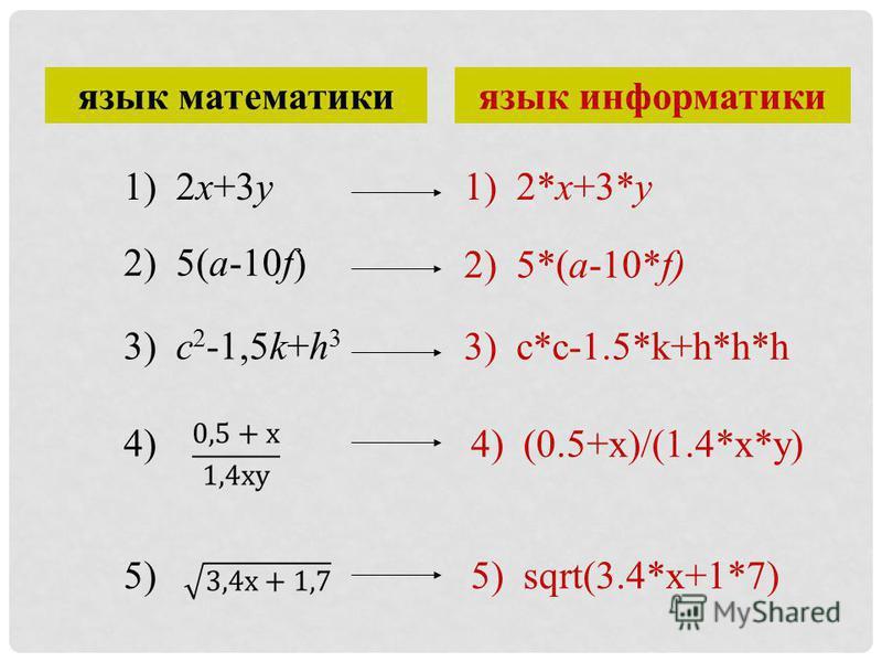 язык математики язык информатики 1) 2x+3y 2) 5(a-10f) 3) c 2 -1,5k+h 3 4) 5) 1) 2*x+3*y 2) 5*(a-10*f) 3) c*c-1.5*k+h*h*h 4) (0.5+x)/(1.4*x*y) 5) sqrt(3.4*x+1*7)