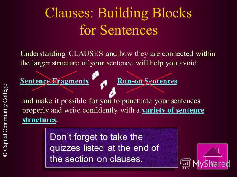© Capital Community College Clauses: Building Blocks for Sentences Sometimes an adjective clause has no subject other than the relative pronoun that introduces the clauses. The Internet was started in 1969 under a contract let by the Advanced Researc