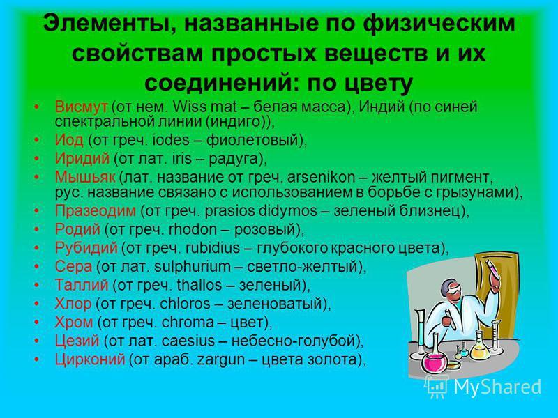 Элементы, названные по физическим свойствам простых веществ и их соединений: по цвету Висмут (от нем. Wiss mat – белая масса), Индий (по синей спектральной линии (индиго)), Иод (от греч. iodes – фиолетовый), Иридий (от лат. iris – радуга), Мышьяк (ла