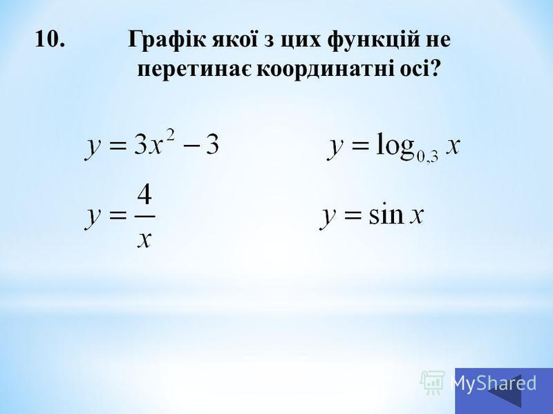 10.Графік якої з цих функцій не перетинає координатні осі?