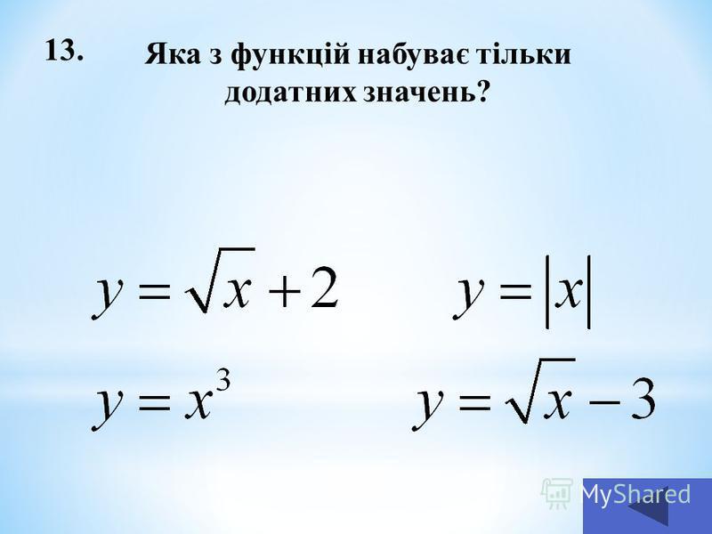 13. Яка з функцій набуває тільки додатних значень?