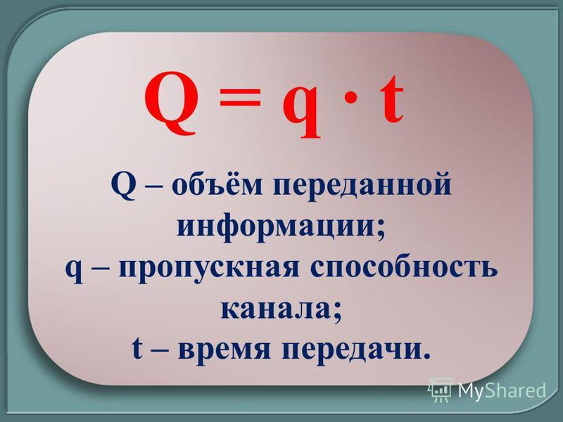 Q = q t Q – объём переданной информации; q – пропускная способность канала; t – время передачи.