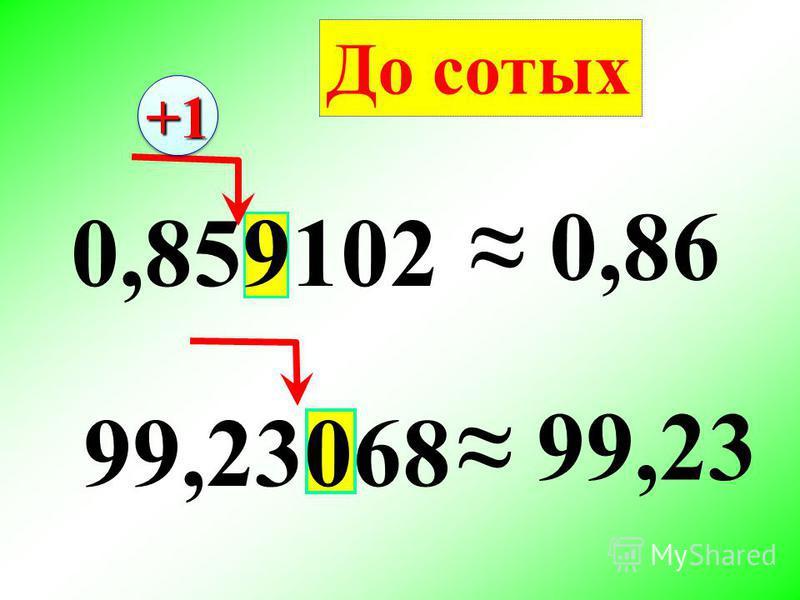 0,859102 0,86 99,23068 99,23 До сотых +1+1