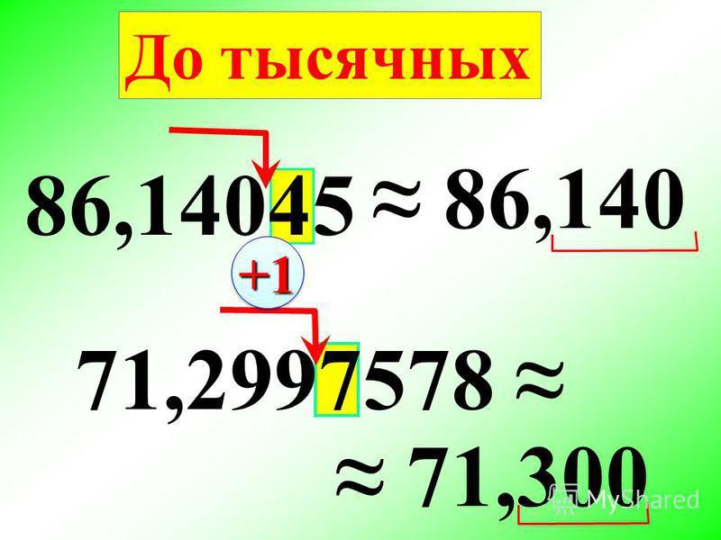 86,14045 86,140 71,2997578 71,300 До тысячных +1+1
