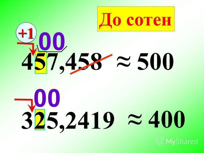 325,2419 457,458 500 400 До сотен 00 +1+1