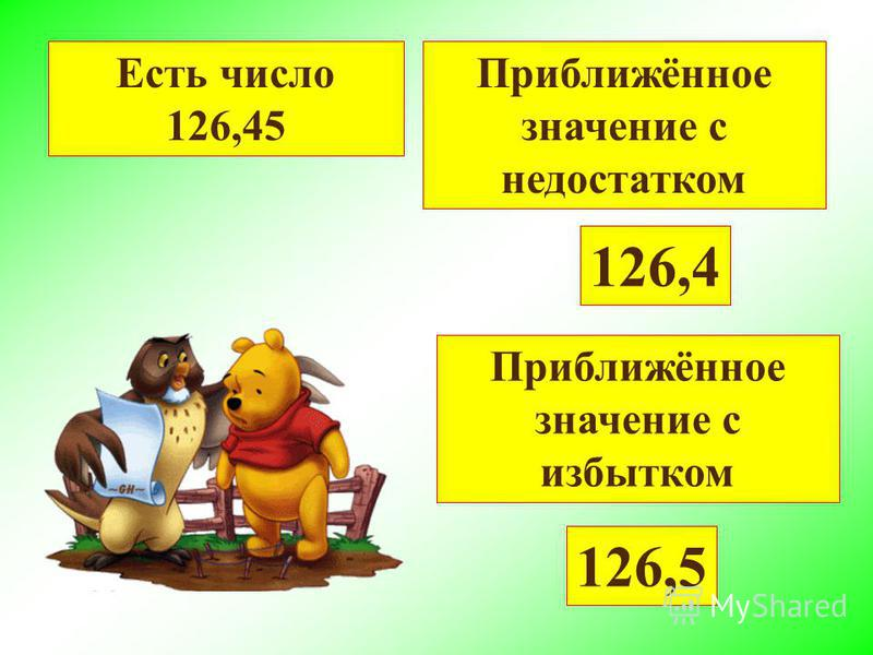 Есть число 126,45 Приближённое значение с недостатком 126,4 Приближённое значение с избытком 126,5
