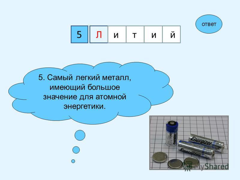 5 Лллитий 5. Самый легкий металл, имеющий большое значение для атомной энергетики. ответ