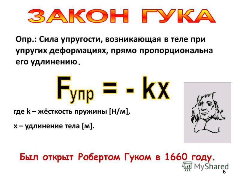 Был открыт Робертом Гуком в 1660 году. Опр.: Сила упругости, возникающая в теле при упругих деформациях, прямо пропорциональна его удлинению. где k – жёсткость пружины [Н/м], х – удлинение тела [м]. 6