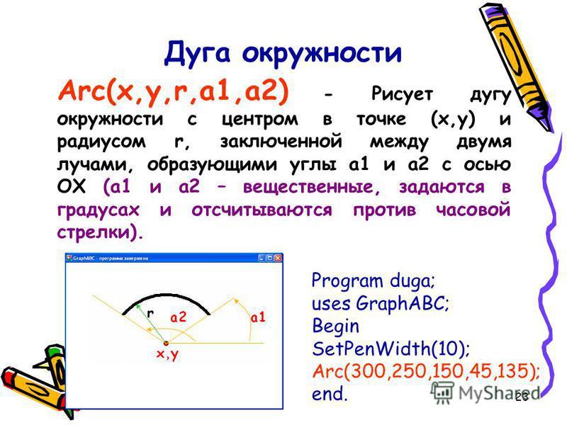23 Дуга окружности Arc(x,y,r,a1,a2) - Рисует дугу окружности с центром в точке (x,y) и радиусом r, заключенной между двумя лучами, образующими углы a1 и a2 с осью OX (a1 и a2 – вещественные, задаются в градусах и отсчитываются против часовой стрелки)