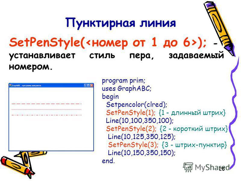 25 Пунктирная линия SetPenStyle( ); - устанавливает стиль пера, задаваемый номером. program prim; uses GraphABC; begin Setpencolor(clred); SetPenStyle(1); {1 - длинный штрих} Line(10,100,350,100); SetPenStyle(2); {2 - короткий штрих} Line(10,125,350,