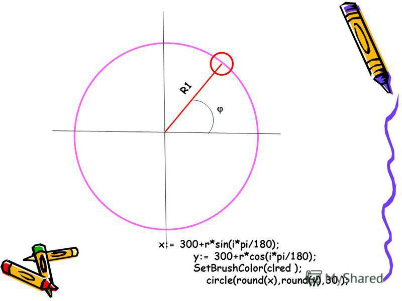 R1 x:= 300+r*sin(i*pi/180); y:= 300+r*cos(i*pi/180); SetBrushColor(clred ); circle(round(x),round(y),30 );