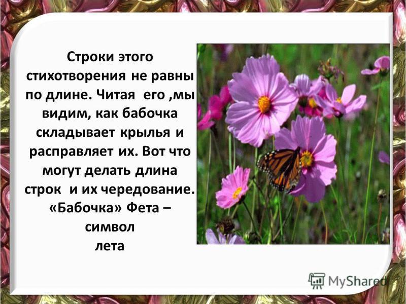 Строки этого стихотворения не равны по длине. Читая его,мы видим, как бабочка складывает крылья и расправляет их. Вот что могут делать длина строк и их чередование. «Бабочка» Фета – символ лета