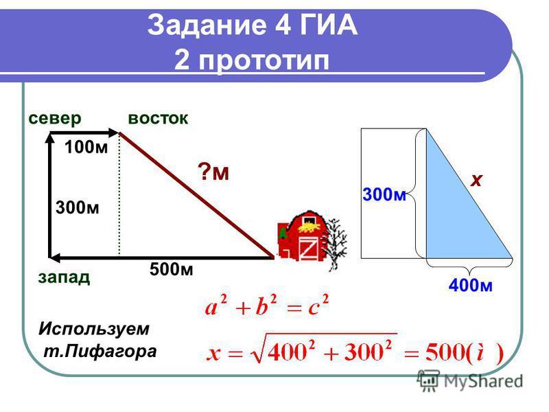 Задание 4 ГИА 2 прототип запад север восток ?м 500 м 300 м 100 м х 400 м 300 м Используем т.Пифагора