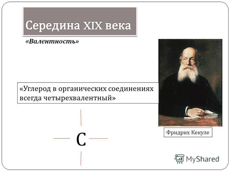 « Валентность » « Углерод в органических соединениях всегда четырехвалентный » Фридрих Кекуле С